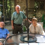 l. to r., Dr. John Krebs, Jim Tusing, Kathy T using